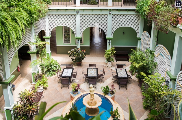 Interior Courtyard of the Hotel Encanto Barcelona, Remedios, Villa Clara
