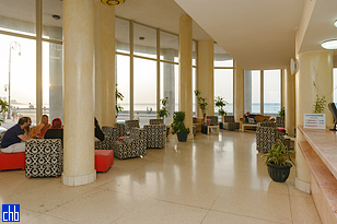 Lobby overlooking the Malecon and Havana Bay
