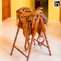 Saddle as Decoration of the Hotel Encanto Caballeriza, Holguin, Cuba