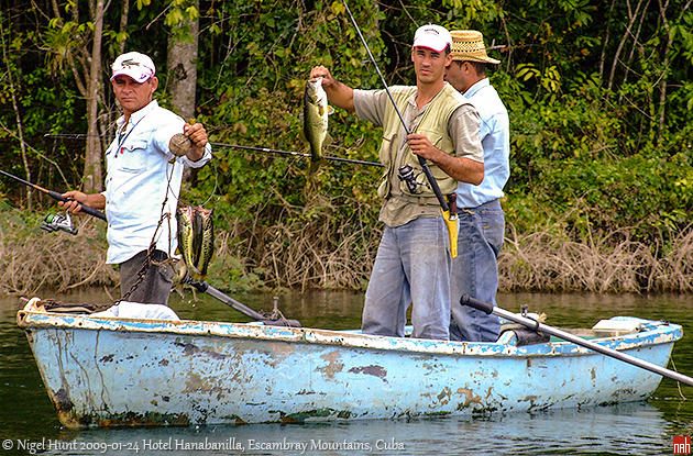 Bass Fishing in Hanabanilla Lake, Escambray Mountains, Cuba