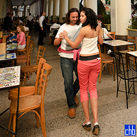 Dancing to Live Music on the front patio cafe-bar of the Inglaterra Hotel