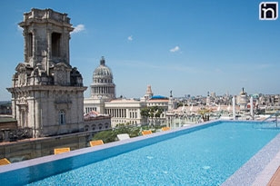 Looking to the Cuban Capitol from the Pool, Gran Hotel Manzana Kempinsky, La Habana, Cuba