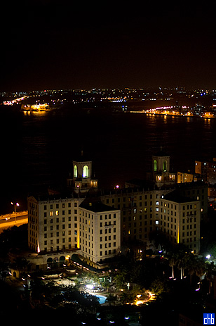 Nacional Hotel at Night from the FOCSA building in December 2009