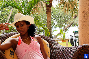 Hotel Nacional de Cuba. Cuban girl at the Patio Bar facing out so sea. Sept. 2009