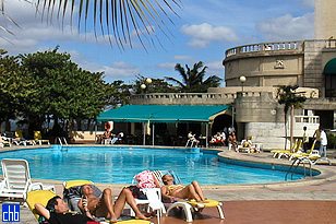 Hotel Nacional de Cuba's South Pool. Snack Bar & Gym alongside.