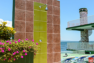Perla del Mar Hotel Terrace with Jacuzzi, Deck Chairs, Shower, Sofa, Coffee tables & Chairs