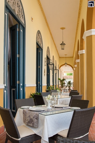 Restaurant Tables at the Portal of the Hotel Encanto Real, Remedios, Villa Clara