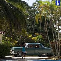 Klasyczny amerykański samochód z lat '50, Yaguajay, Sancti Spiritus, Kuba