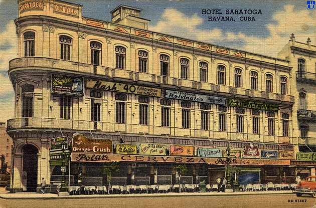 Stara pocztówka Hotelu Saratoga pokazująca oryginalny 3 piętrowy budynek