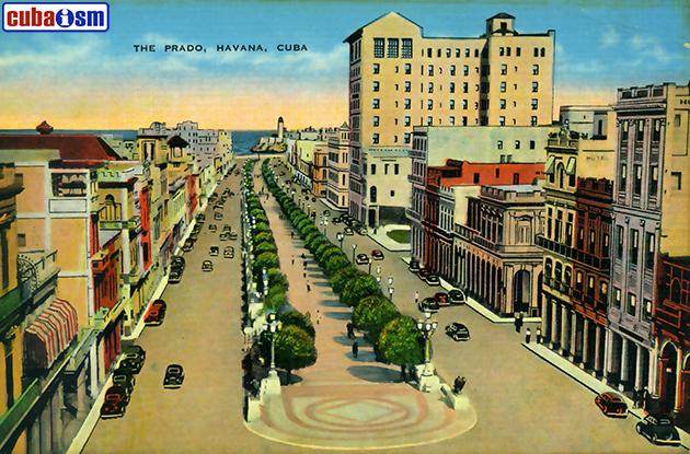 Postal Antigua del Prado y Hotel Sevilla, La Habana, Cuba