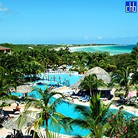 Aerial View Of The Sol Cayo Caco Hotel Pool
